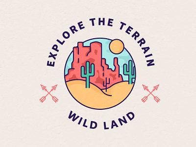 Wild West badge illustration vector wilderness west sand cactus wild west