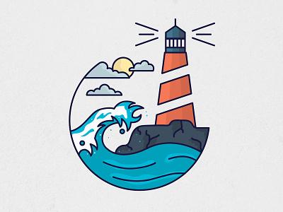 lighthouse nature sun ships sky icon beacon illustartion waves ocean lighthouse