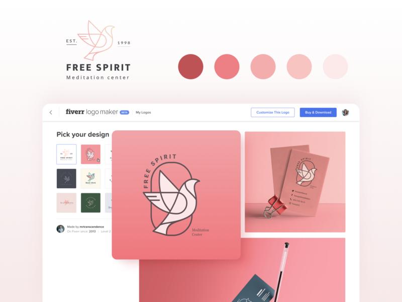Fiverr logo maker color bird minimal webdesign website web interface ui brand