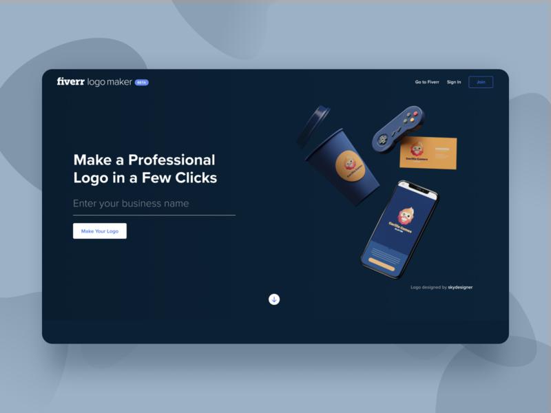 Fiverr Logo Maker - Navy website web uiux ui typography simple product application app design minimal color clean app