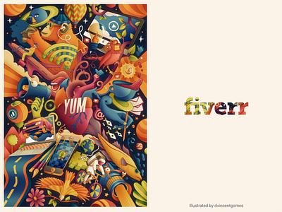 YUM Illustraion cool happy color art illustraion illustrator fiverr vectorart vector