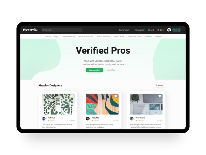 Fiverr Pro uidesign fiverr landingpage typography clean modern uiux ui webdesign web