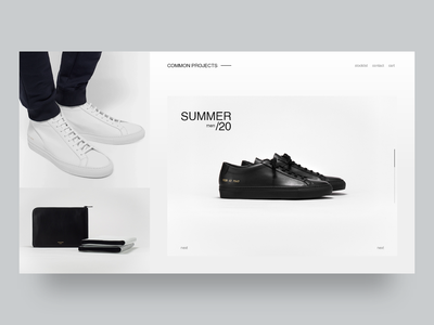 Common Projects Store shoes fashion store white clean typography minimal webdesign web design common web