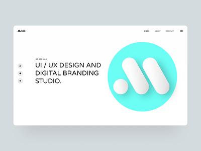 Milk Hero simple ux ui 3d design 3d page typogaphy design homepage hero landing whitespace webdesign website web minimal clean