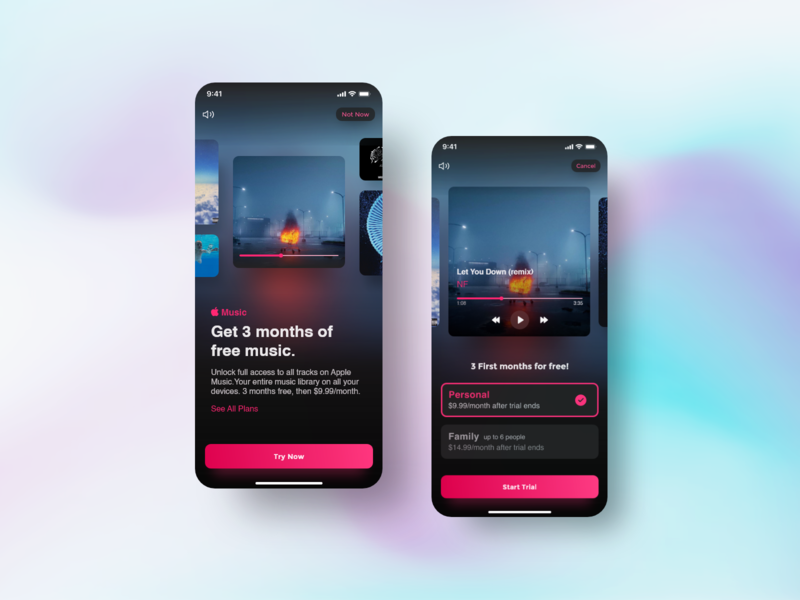 Apple Music Interactive Subscription dark mode ios apple music typography color clean subscription uidesign uiux ux ui app