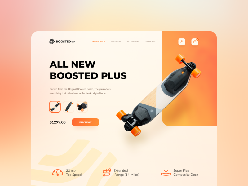 Web Design - Boosted board skateboard electric webdesign web product page product modern minimal landingpage website header