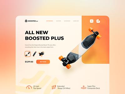 Web Design - Boosted board skateboard electric webdesign web product page product modern minimal landingpage website header