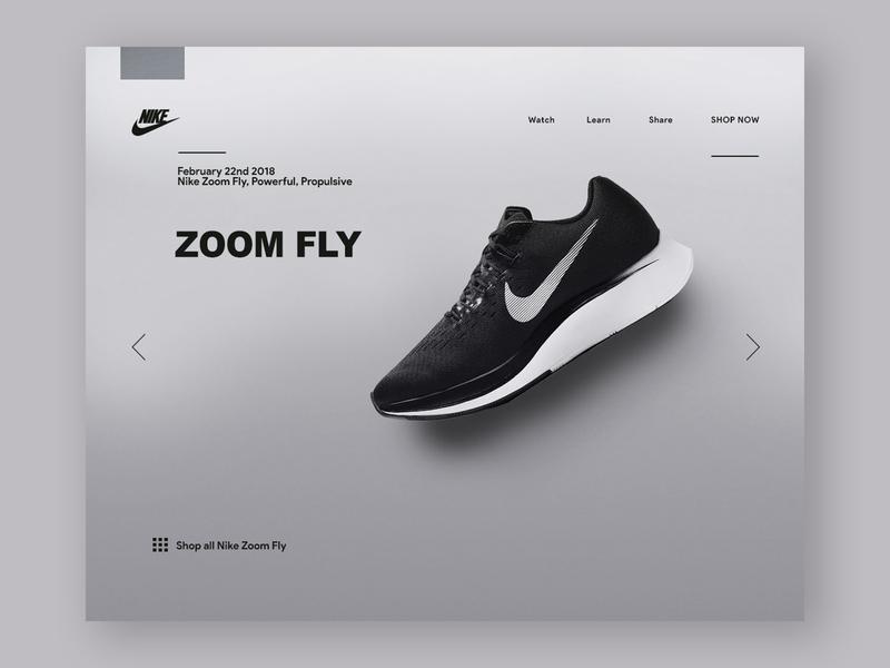 Nike Zoom Fly minimal clean landing website store ui sneakers shoes nike