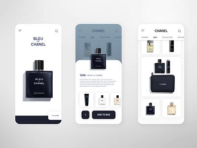 Bleu de Chanel perfume chanel interface luxurious luxury ux ui shop mobile iphone home ecommerce app