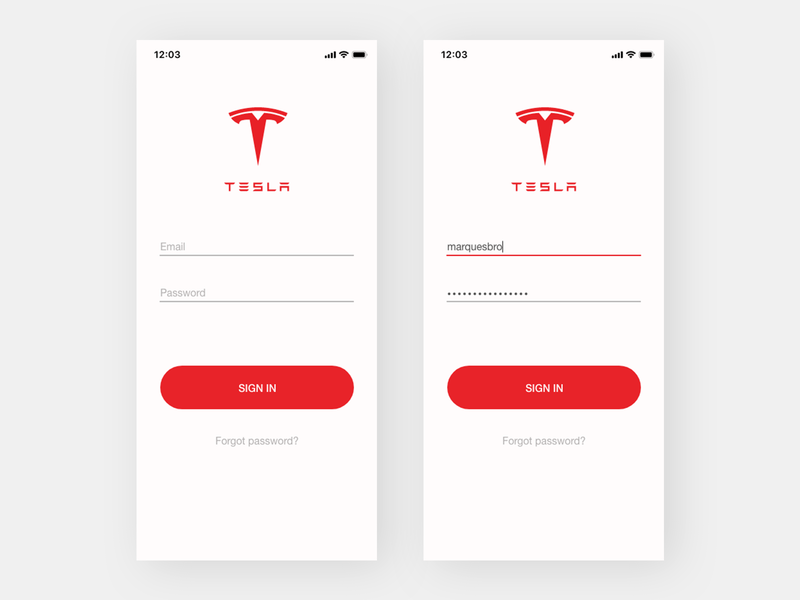 Tesla Careers Login >> Tesla App Login By Arthur K On Dribbble