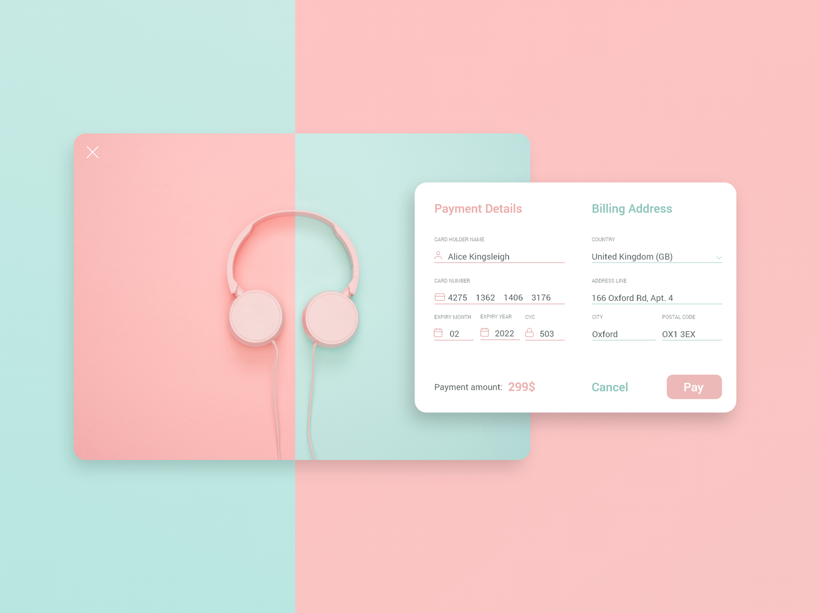 Checkout payment dribbble