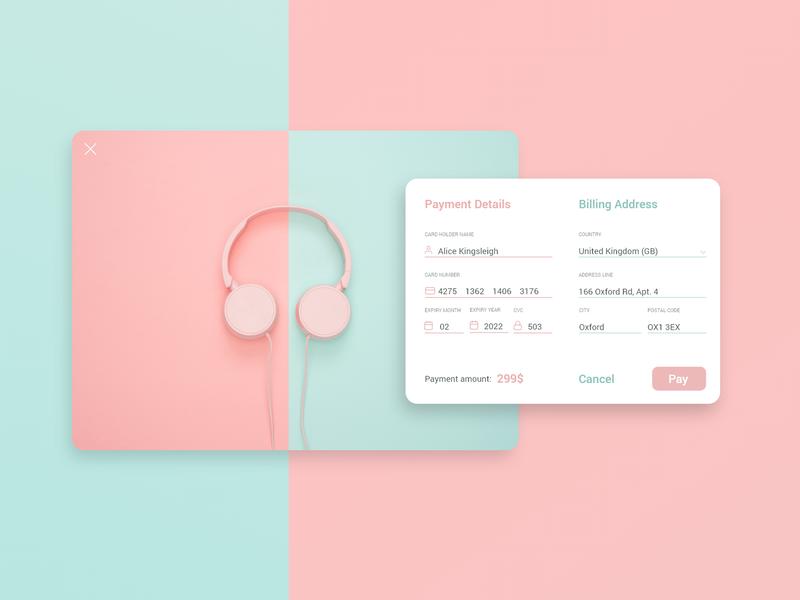 Credit Card Checkout - Daily UI 002 002 headphones signin credit card form dailyui minimal uiux ux ui payment creditcard checkout billing webdesign app