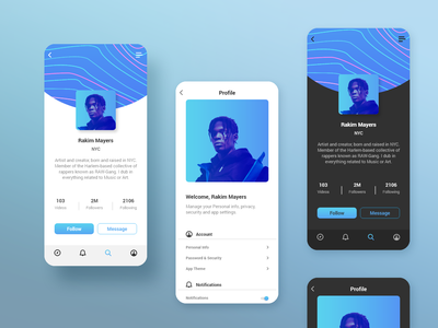 Social App Profile - Daily UI 006 ios blue interface design userprofile user social mobile app 006 dailyui