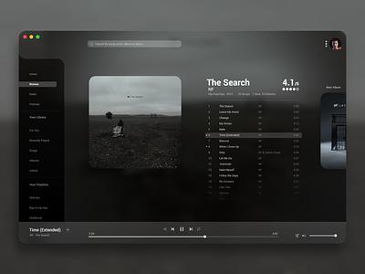 Music Player - Daily UI 009 design artist album song lyrics song sidebar minimal clean desktop ui player play music music player 009 dailyui