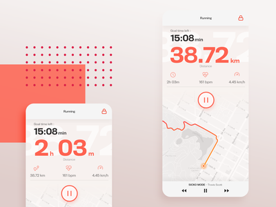 Running app - Daily UI 014 run sports route countdowntimer countdown ux ui mobile running app daily ui 014 dailyui