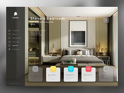 Smart Home Dashboard - DailyUI 021 minimal light tv camera remote temperature ux ui monitoring smart home app desktop dashboard