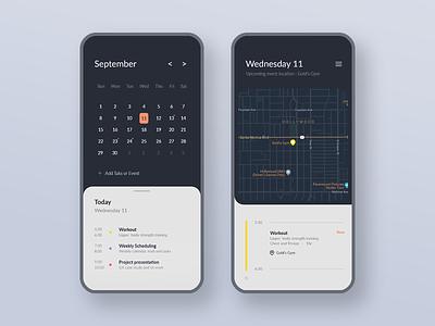 Calendar - DailyUI 038 mobile design 038 dailyui event ios blue date todo task list task maps minimal app calendar