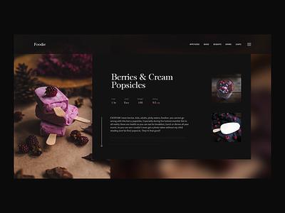 Berries Popsicle Recipe - DailyUI 040 minimal sweets creamy blog webdesign website web ux dailyui ui popsicle recipe berries