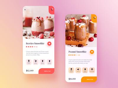 Food/Drink Menu - DailyUI 043 colorful minimal mobile ios iphone food app store 043 ui dailyui shake berries peanut butter fruits