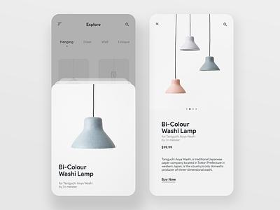 Nendo Lamps iphone ios minimal product white uidesign light lamp elegant clean app ui trend 2019