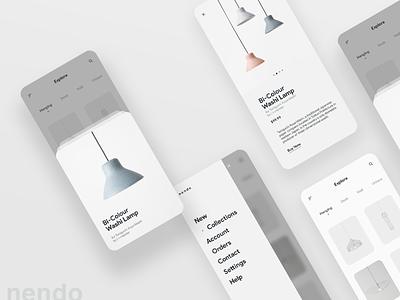 Nendo Lamps App iphone mobile product white clean elegant minimal uidesign 2019 trend ui app light lamp nendo