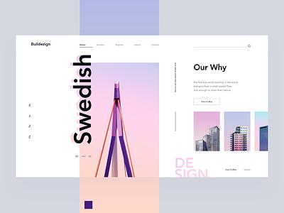 Architecture Firm minimal web page webdesign web ui typography landingpage house creative gradient color building