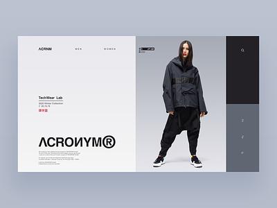 ACRONYM typography minimal ux ui web design website web clothing techwear gear wear tech acronym ecommerce store