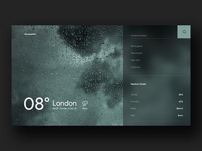 Weather App Website typography website webapp web ui time minimal degree location interface weather cloud rain rainy city