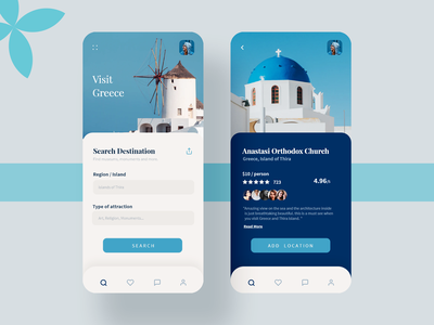 DribbbleGreece minimal popular color ux ui mobile app travel app location greece travel