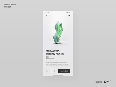 Nike ZoomX Vaporfly typography appdesign mobile ios minimal ux ui running shoe app store nike