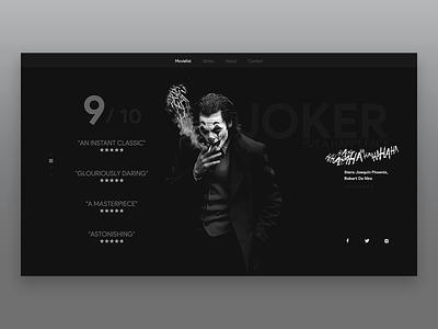 Joker film review homepage ux ui website web joaquin phoenix white black netflix imdb movie joker