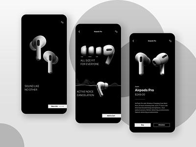 Airpods Pro white black ios ui website elegant minimal product app wireless earphones headphones sound music airpod apple