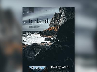 TRVL - Iceland map snow winter iceland ux ui typography clean simple minimal landing page web design website web trip travel explore