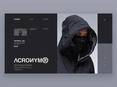 ACRONYM - MKII dark webdesign website web ux ui typography minimal gear ecommerce store shop techwear tech fashion clothing acronym