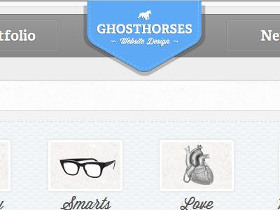 Ghosthorses Redesign white blue grey portfolio