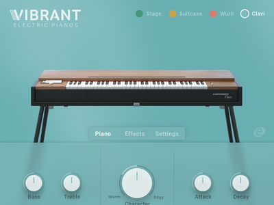 Vibrant E-Piano UI vst ux design ux clean app 3d modeling synthesizer interface piano interface design ui music instrument