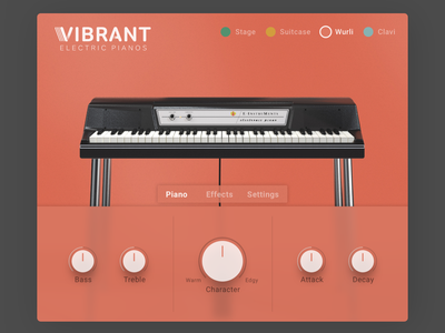 Vibrant - Electric Piano UI synthesizer vst branding ux design clean app 3d modeling interface piano interface design ui music instrument
