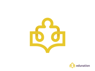 Edunation logo connection smart knowledge clever gazarkie logo people puzzel book education