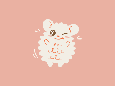Pusio mouse charming fluffy kindergarten gazarkie baby key visual animal cute design kids illustration character