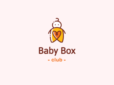 Baby Box Club diaper club mark simple heart box care gazarkie logo symbol kids line character baby