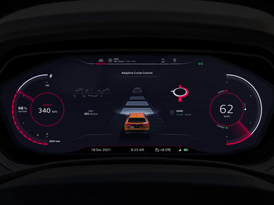 Car Dashboard Concept futuristic modern clean design mobile speed map 3d animation motion instrument cluster car dashboard automobile auto vehicle user experience e-tron q8 audi
