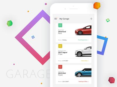 Car App ux ui mobile minimal menu ios design clean cards car auto app