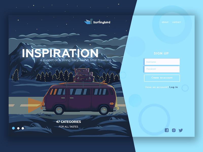 Regesign: Surfing bird main page website light blog creative ux ui subscribe redesign