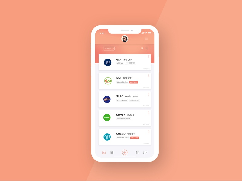 App for collection a discount cards creative design vector ux ui app concept app