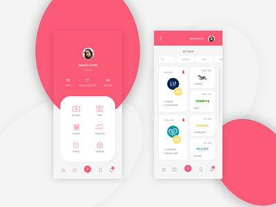 App for loyalty cards portfolio ipone redesign homepage app concept light design app creative ux ui