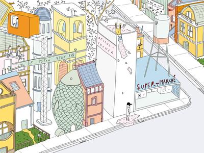An empty street quarantine street sketchbook sketch illustratie illustration drawing pendrawing