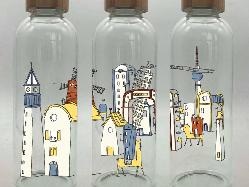 Bottle wrap Wanderlust monument travel design illustrator sketch drawing illustration