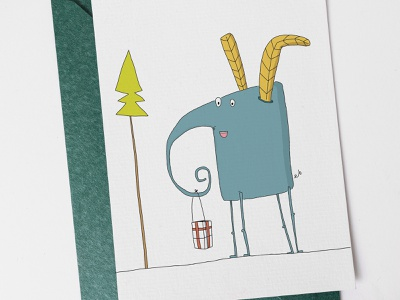 Christmas card with Dora postcard design handdrawn illustration gretingcard post postcard elephant