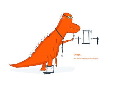 The 404 dinosaur dinosaur dino character characterdesign pagenotfound 404page design sketch illustrator drawing illustration