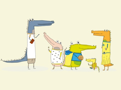 It's family picture time! 📸 character family animal crocodile sketch illustrator drawing illustration